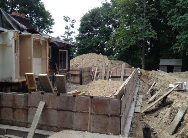 Forms in place for foundation walls