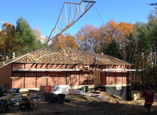 Roof structure nearly complete.
