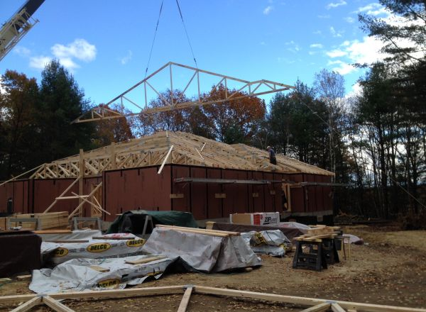 Another angle of nearly complete roof structure.