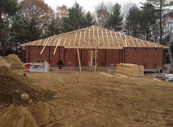 Finish framing on the roof structure front view.