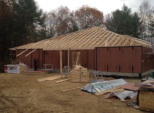 Another front view of roof framing.