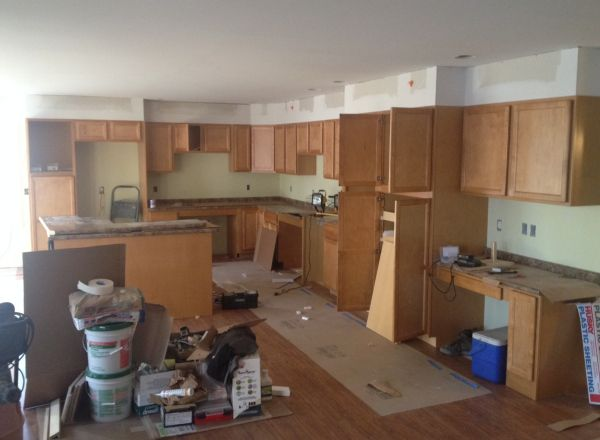 Kitchen cabinet installation.