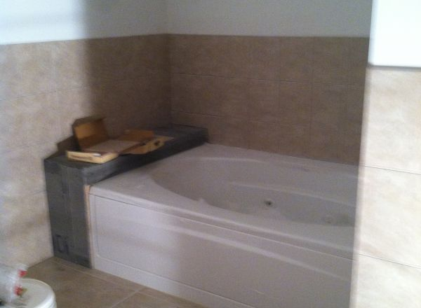 The bathtub is in.
