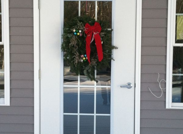 The front door is decorated for the season.