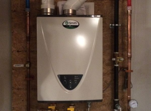 High efficiency water heater with digital water temperature readout.