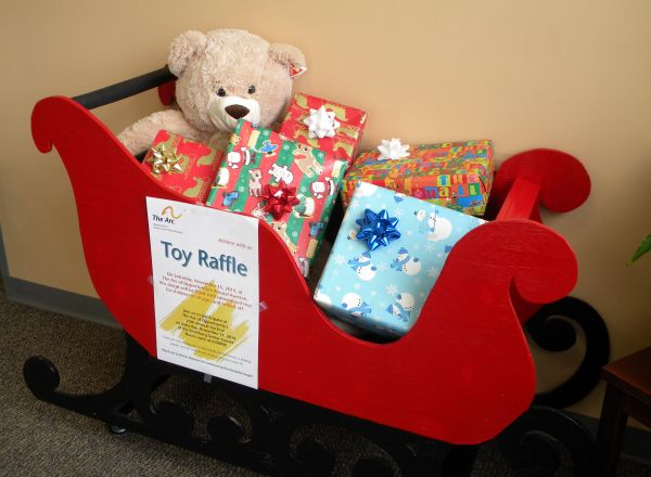 Toy Raffle Sleigh built and donated by Bernie and Ann Louise Stephens