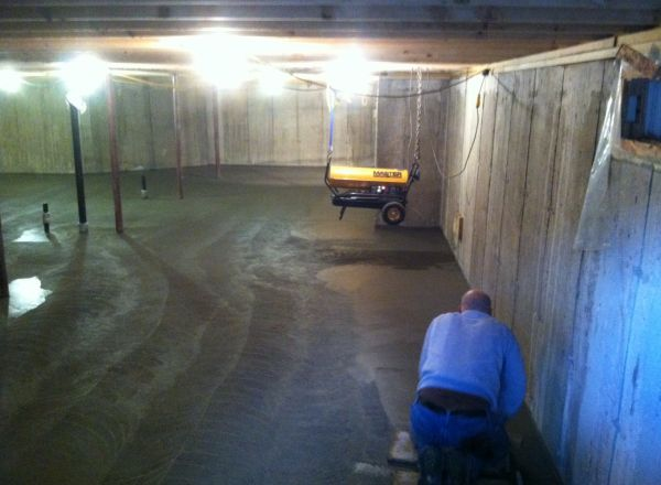 Finishing the basement floor.