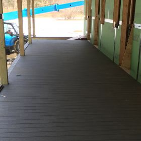 Back porch with decking completed.