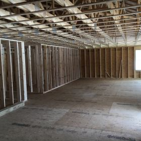 Common area framed.