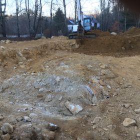 Excavated foundation area.