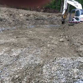 Excavating for the foundation.