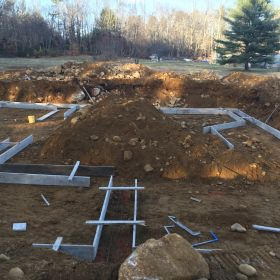 Laying out for the foundation footings.