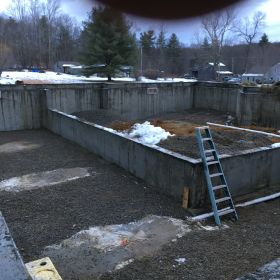 Preparation for pouring basement floor.