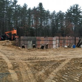 Setting up the foundation wall forms.