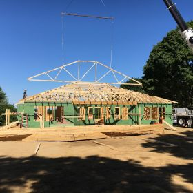 Roof truss installation.