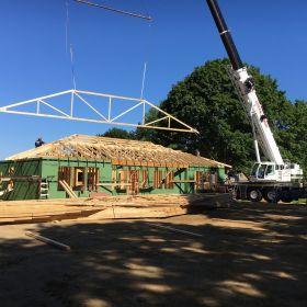 Roof truss installation.