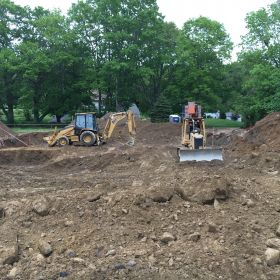 Excavation for the foundation.