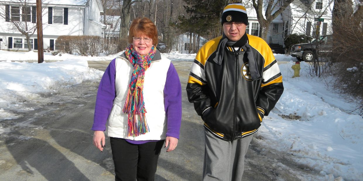 Brenda and Steven take a winter walk.